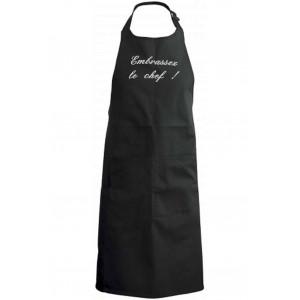 tablier de cuisine Embrassez le chef noir brodé blanc