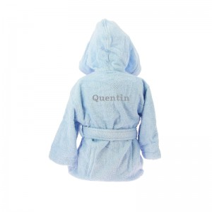 Peignoir enfant Bleu broderie dans le dos