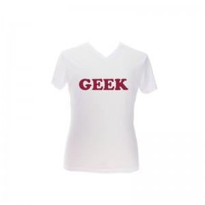 T-shirt homme blanc, perso devant en rouge bdx et en cooper