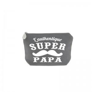 Trousse super Papa grise écriture blanche