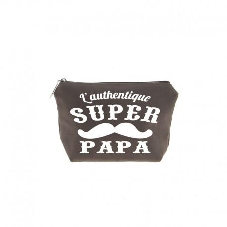 Trousse super Papa marron écriture blanche