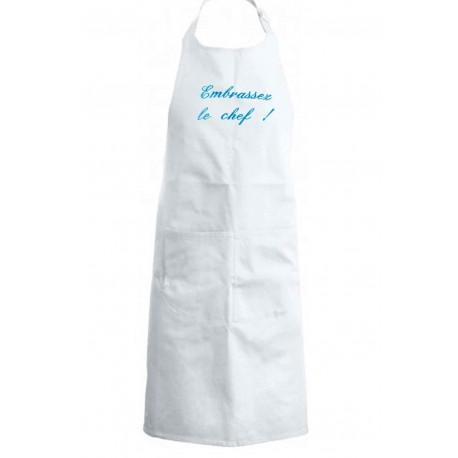 tablier de cuisine Embrassez le chef blanc brodé turquoise