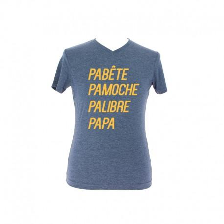T-shirt PAPA bleu personnalisé en jaune