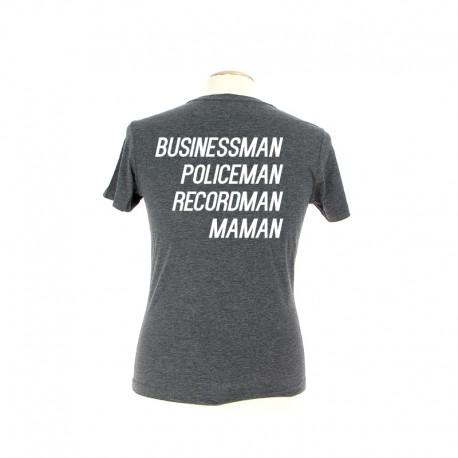T-shirt MAMAN gris personnalisé en blanc