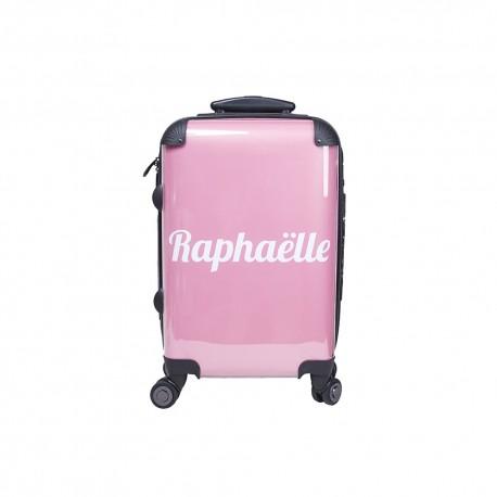 Valise cabine personnalisée fond rose
