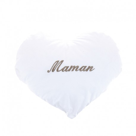 Coussin coeur brodé maman en anglaise