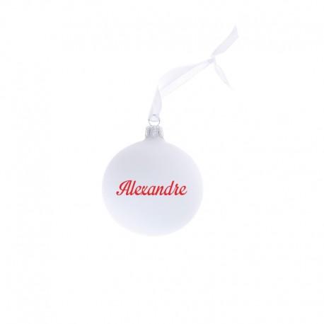 Boules de Noël personnalisées Blanches ecriture rouge