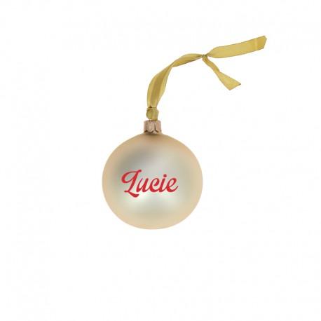 Boules de Noël personnalisées or ecriture rouge