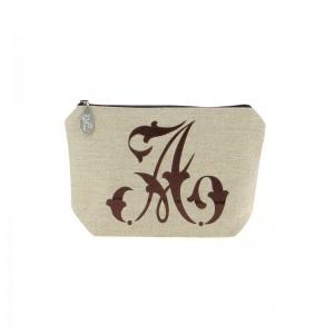 Trousse en lin alphabet marron