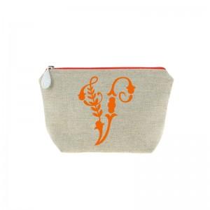 Trousse en lin alphabet orange