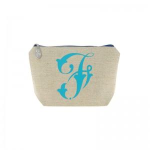 Trousse en lin alphabet turquoise
