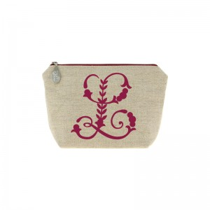 Trousse en lin alphabet rouge bordeaux