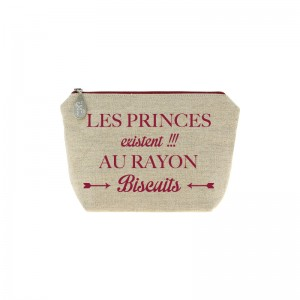 Trousse en lin message rouge bordeaux