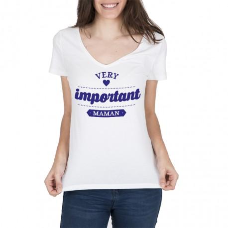 T-shirt Very Important Maman bleu marine