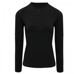 Tee-shirt noir femme manches longues personnalisable
