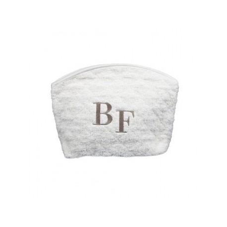 Trousse éponge GM Blanc brodé taupe