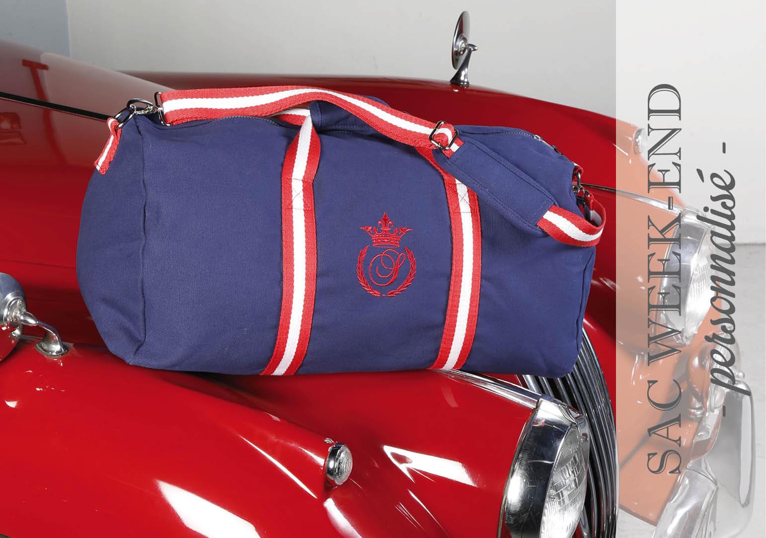sac week-end personnalisé bleu marine et rouge by Matao