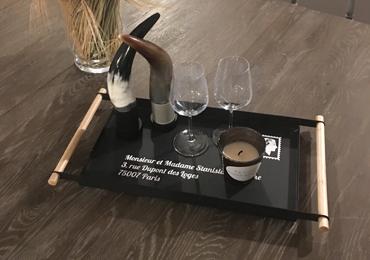 plateau noir tapas by Matao - bougie personnalisée